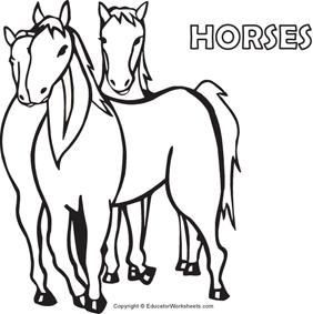 Native American Coloring Fun - Horses
