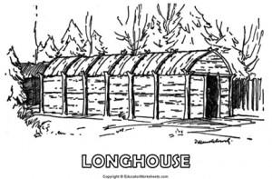 Native American Coloring Fun - Longhouse