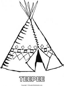 Native American Coloring Fun -Teepee